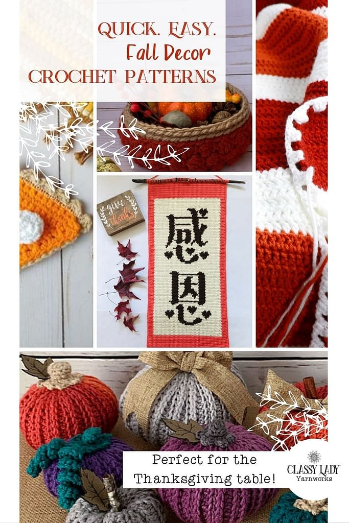 Collage of images that represent quick, easy crochet patterns available for the Thanksgiving holiday or Fall.
