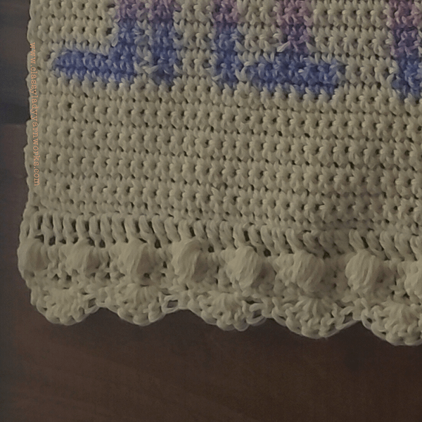 Close up of bottom stitches on crochet pattern - Shit. A Wall Tapestry