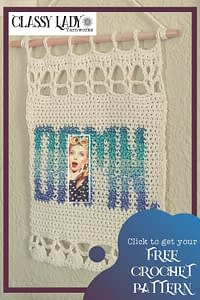 """Crocheted wall art that says """"Damn."""" Represents a crochet pattern that is available from Classy Lady Yarnworks"""