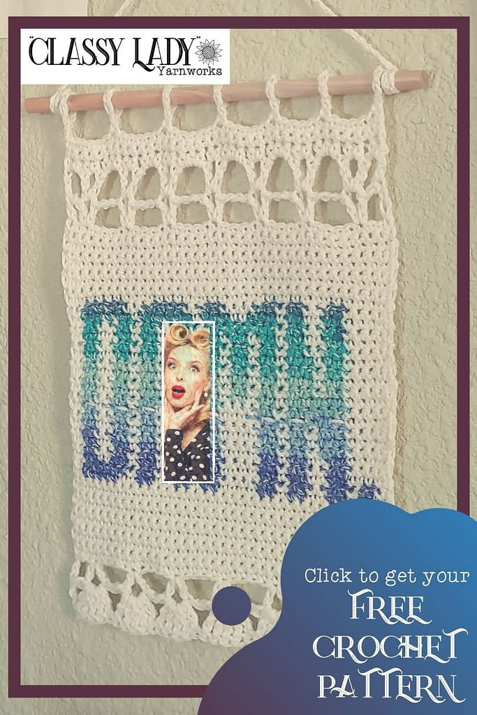 "Crocheted wall art that says ""Damn."" Represents a crochet pattern that is available from Classy Lady Yarnworks"