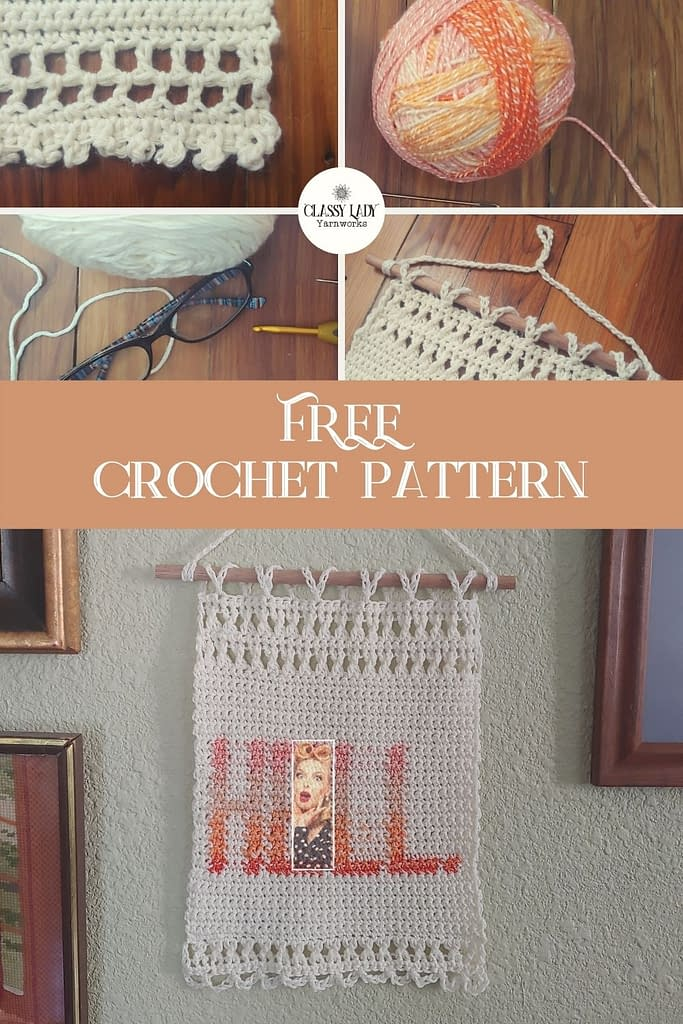 """Crocheted wall art that says """"Hell."""" Represents a crochet pattern that is available from Classy Lady Yarnworks"""
